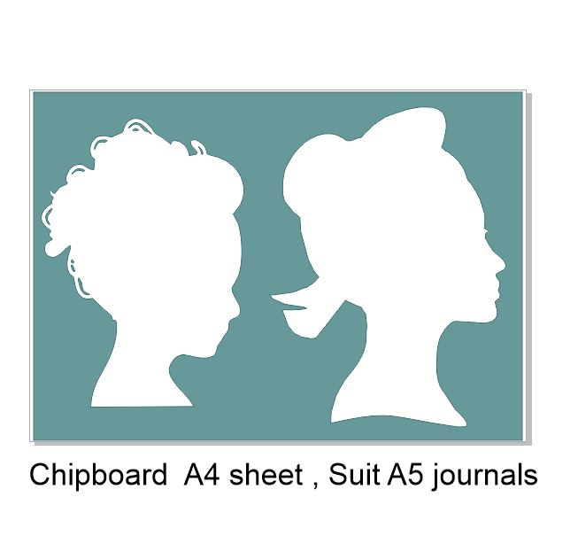 Chipboard ladies heads great for off the page and journals 200 x